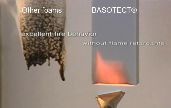 Comportamiento al fuego del Basotect® frente a otras espumas